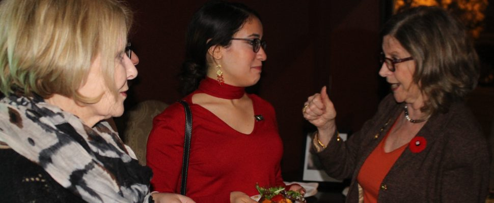 Dr Doris Grinspun, CEO os the Registered Nurses Association of Ontario (RNAO), speaks with attendees at an event at Bacchus Restaurant in Windsor, November 11, 2019. Photo by Mark Brown/Blackburn News.