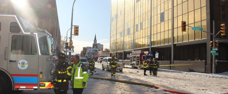 A fire at a high rise in downtown Windsor has sent three people to hospital with smoke inhalation. Nov 12, 2019. (Photo by Paul Pedro)