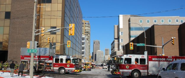 A fire at a high rise in downtown Windsor sent five people to hospital with smoke inhalation. Nov 12, 2019. (Photo by Paul Pedro)