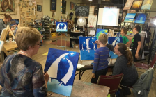 Lambton County residents taking part in an art class. 2017. (Photo by County of Lambton)