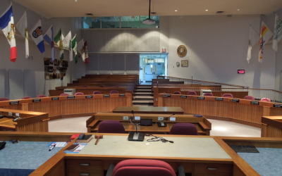 Lambton County Council Chambers on Broadway Street in Wyoming. April 2019. (Photo by County of Lambton)