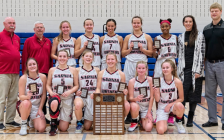 Northern Vikings seniors girls' basketball team celebrates their LKSSAA championship. November 9, 2019. (Photo by Northern Collegiate)