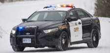 Ontario Provincial Police cruiser in the snow. (Photo by OPP)