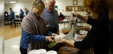 Two residents getting some wieners and beans at the annual Operation Christmas Tree kick-off from Royal Canadian Legion Branch 447 in Corunna. November 21, 2019. (BlackburnNews.com photo by Colin Gowdy)