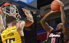 Garrett Williamson of the London Lightning , and Chris Jones of the Windsor Express . (Photos courtesy of Lightning/Twitter and Express/Twitter)