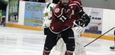 Chatham Maroons forward Dallas Maurovic (centre) warms up ahead of a game against the St. Thomas Stars. November 2019. (Photo by Matt Weverink)
