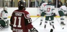 Chatham Maroons forward Brett Fisher warms up ahead of a game against the St. Marys Lincolns. October 2019. (Photo by Matt Weverink)