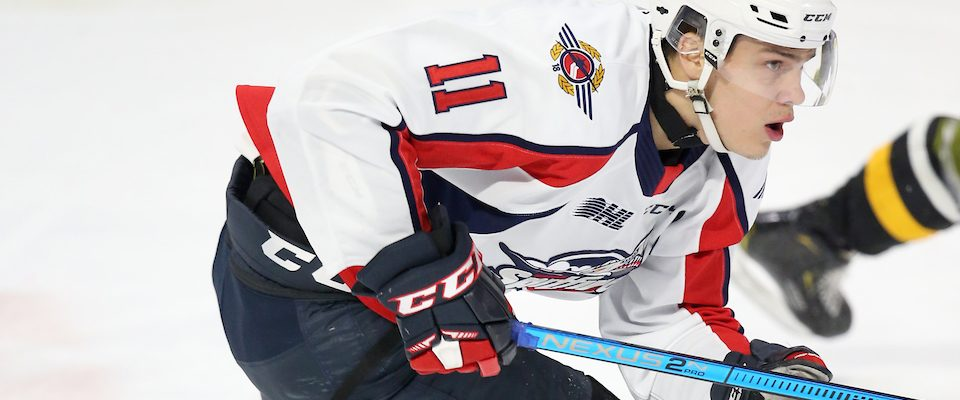 Egor Afanasyev of the Windsor Spitfires. (Photo courtesy of Luke Durda via OHL Images)