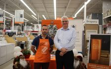 Home Depot Store Manager Mark Belanger and Dave Freeman with the Windsor Residence for Young Men at the launch of the annual Orange Door Project, December 4, 2019. (Photo by Maureen Revait)