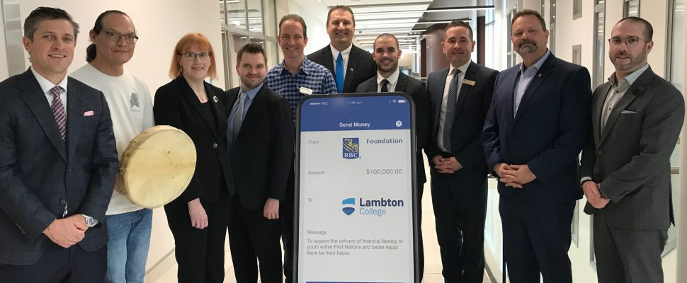 Representatives from RBC and Lambton College celebrate a $100,000 gift to Enactus Lambton. December 13, 2019 Photo by Melanie Irwin
