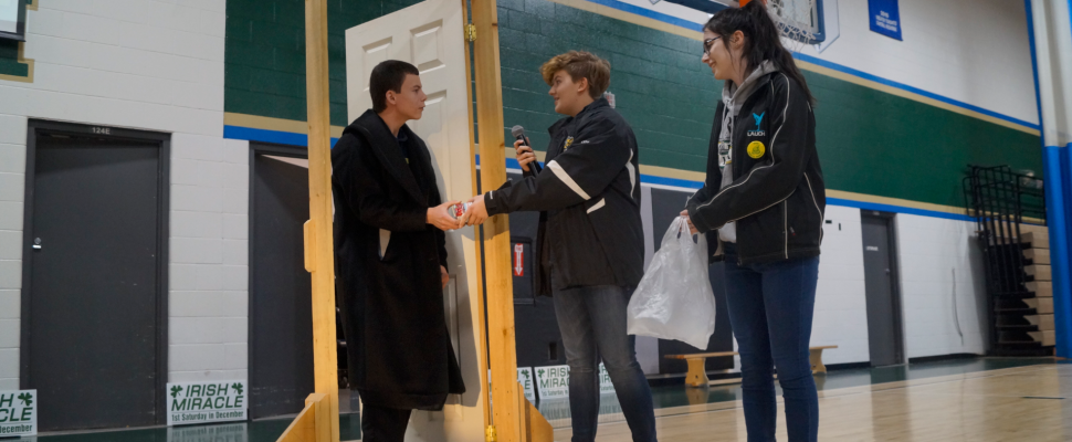 St. Patrick's High School students take part in the 36th annual Irish Miracle Food Drive kick-off. 3 December 2019. (BlackburnNews.com photo by Colin Gowdy)