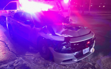 A St. Thomas police cruiser was severely damaged in a crash at First Avenue and Talbot Street, December 4, 2019. Photo courtesy of St. Thomas police.