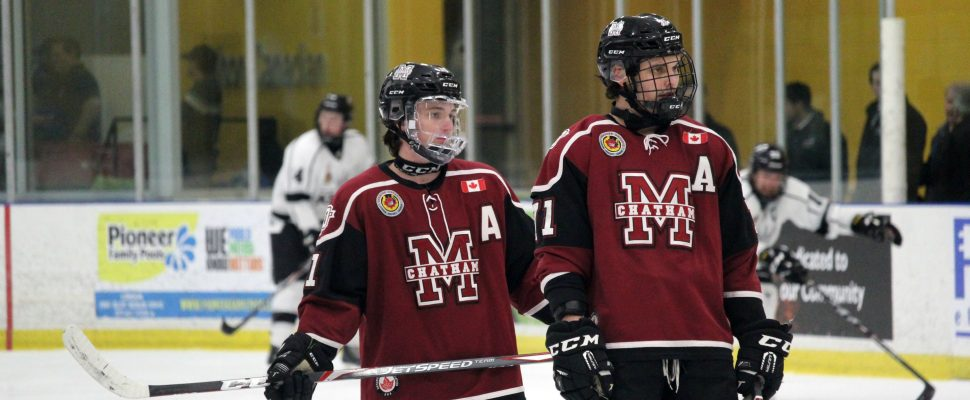 Chatham Maroons forwards Kyle Fisher (left) and Dallas Maurovic ahead of a game against the Komoka Kings. November 2019. (Photo by Matt Weverink)