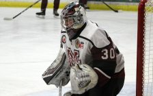 Chatham Maroons goaltender Kevin Linker. December 2019. (Photo by Matt Weverink)