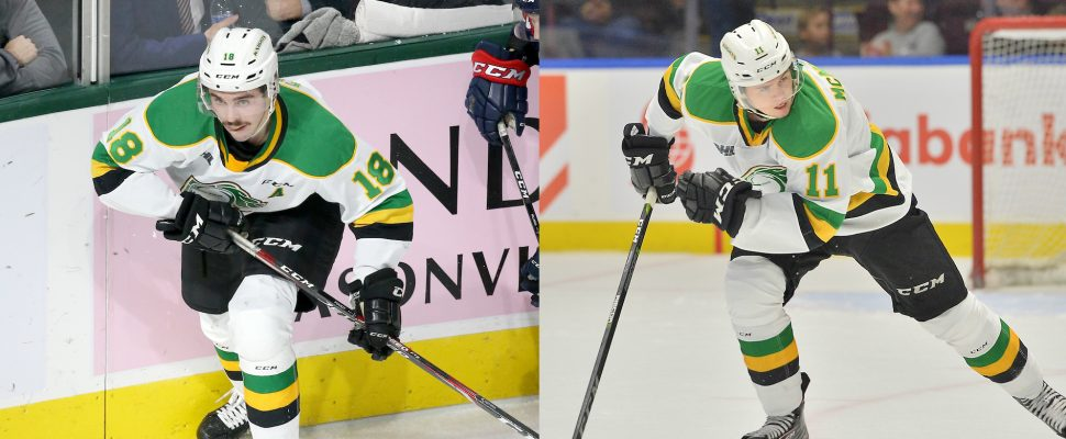 Liam Foudy and Connor McMichael of the London Knights. (Photo courtesy of Terry Wilson and Luke Durda via OHL Images)