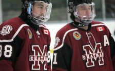 Chatham Maroons forwards Evan Wells (left) and Kyle Fisher ahead of a game against the Komoka Kings. November 2019. (Photo by Matt Weverink)