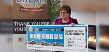 Aline Wirtanen of Sarnia takes home half the $1,074,045 jackpot in the 50/50 supporting the regional hospitals in London. The 50/50 is conducted in conjunction with Dream Lottery, which also awarded its top prize Thursday morning. (Handout) December 5, 2019