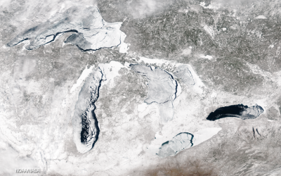 Great Lakes ice cover was 92.5% on March 6, 2014. (Photo courtesy of NOAA Great Lakes CoastWatch and NASA)