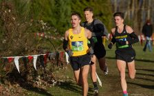 Forest native Connor Black (yellow top) competing in the 2019 Canadian XC Championships in Abbotsford, BC. November 30, 2019. (Photo by Vid Wadhwani Photography)