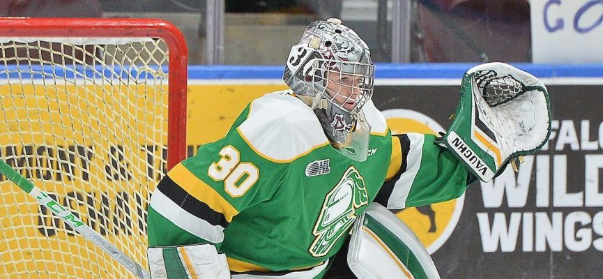 Brett Brochu of the London Knights. (Photo courtesy of Terry Wilson via OHL Images)