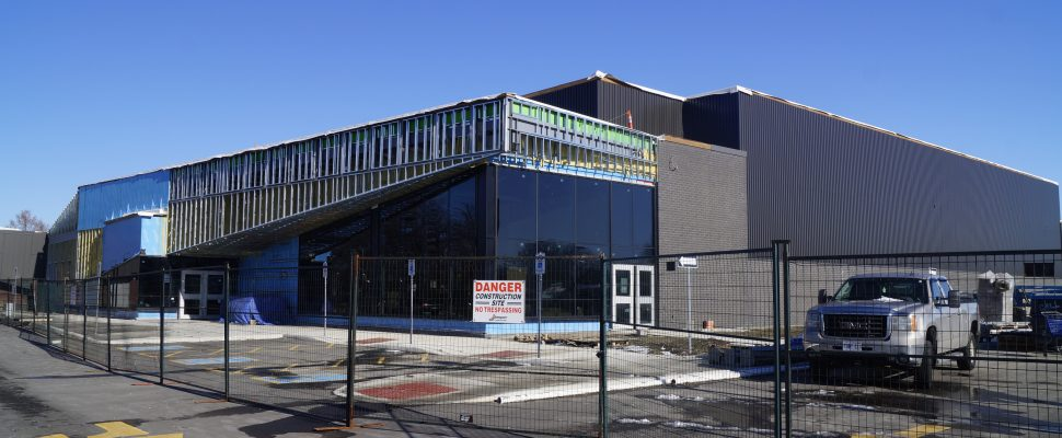 Construction work at Sarnia's new Great Lakes Secondary School. 6 January 2020. (BlackburnNews.com photo by Colin Gowdy)