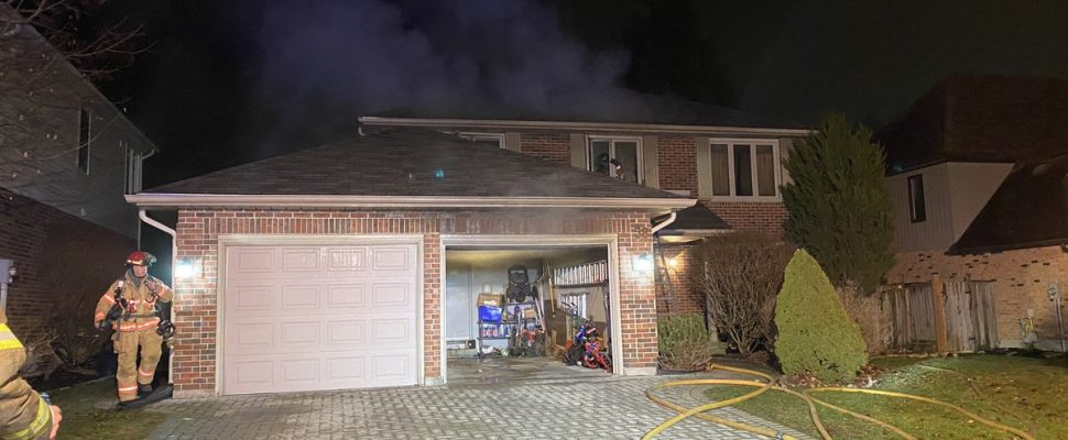 Firefighters battle a blaze at a home on Lavender Way in London, January 13, 2020. (Photo courtesy of the London Fire Department via Twitter)