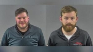 Mark Derkatz, left, of Windsor, and Alexander Thim of West Bloomfield, Michigan, are charged with racing Corvette Stingrays on a street in Bowling Green, Kentucky on January 8, 2020. Photo provided by Kentucky State Police, via WBKO-TV in Bowling Green.