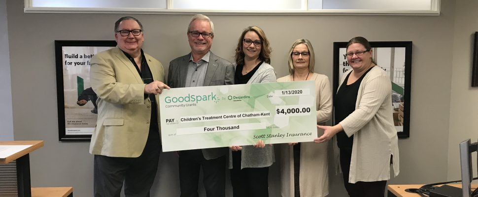 DesJardins Insurance cheque presentation. January 13, 2020. (Photo by Paul Pedro)