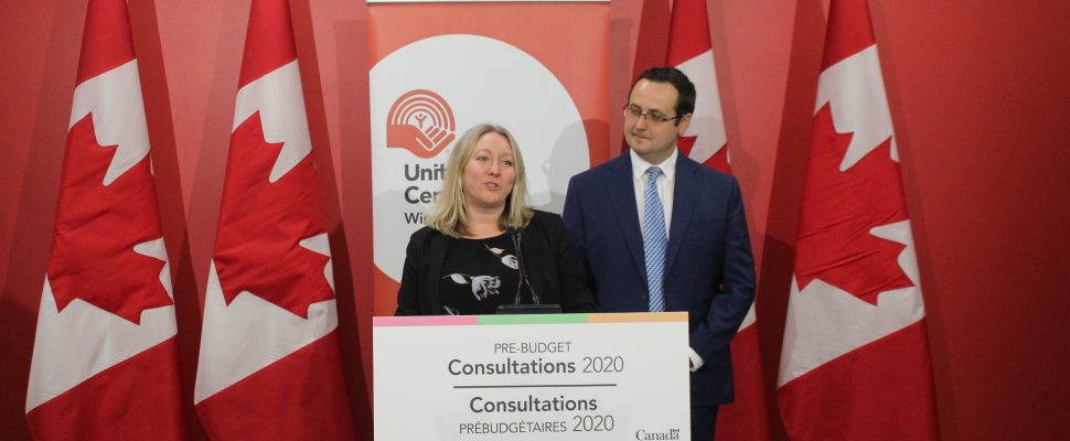 Minister Mona Fortier and MP Irek Kusmierczyk speak to reporters after pre-budget consultation in Windsor, January 14, 2020. (Photo by Maureen Revait)