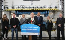 Minister Vic Fedeli announces funding at Precision Stamping Group, January 21, 2020. (Photo by Maureen Revait)