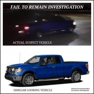 Police are looking for this vehicle after a driver failed to remain at the scene of a crash in Meaford. (Photo courtesy of the OPP)