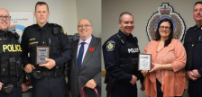 (Picture #1) OPP West Region Cst. Richard Mathieson receiving a plaque from MADD Sarnia-Lambton for his outstanding commitment to reducing impaired driving. (Picture #2) Sarnia Police Cst. Ron Szabo receiving a plaque from MADD Sarnia-Lambton for his outstanding commitment to reducing impaired driving. January 2020. (Photos by MADD SL from twitter)