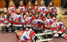 The Mooretown Lady Flags Novice HL team. March 30, 2019. (Photo by Mooretown Lady Flags Girls Hockey Association)