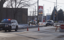 Sarnia police investigating a collision involving a pedestrian at London Road and Murphy Road. 22 January 2020. (BlackburnNews.com photo by Colin Gowdy)
