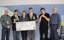 Sarnia's Royal Canadian Legion Branch 62 presenting Pathways Health Centre for Children with a cheque for $30,000. January 2020. (From L-R: Dave Schaller, Manager of Family and Community Services, Pathways, Lynn Mathieson, President of Legion Branch 62, Alison Morrison, Executive Director, Pathways, Les Jones, First Vice President of Legion Branch 62, Michael Mathieson, Tim Bechard, Community and Corporate Partnerships, Pathways).