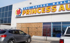 A boarded up area outside Princess Auto in Sarnia following a collision involving an alleged impaired driver. 22 January 2020. (BlackburnNews.com photo by Colin Gowdy)