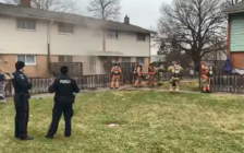 Firefighters work to extinguish a fire at a townhouse on Barberry Court, January 14, 2020. Photo courtesy of the London Fire Department.