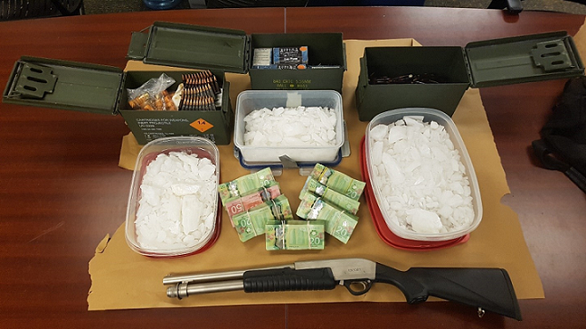 $462K worth of crystal methamphetamine, a shot gun and ammunition seized by London police, January 9, 2020. Photo courtesy of London police.