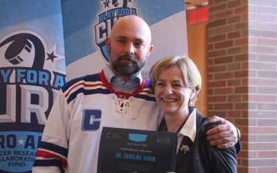 Play for a Cure organizer Jeff Casey and Dr. Caroline Hamm, February 19, 2020. (Photo by Maureen Revait)