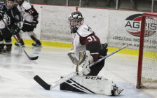 Maroons goaltender Bryce Walcarius during a game versus the LaSalle Vipers from Chatham Memorial Arena. 2 February 2020. (Photo by Chatham Maroons from Twitter)