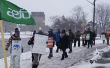 Members of AEFO walking the picket line outside Sarnia-Lambton MPP Bob Bailey's office. 13 February 2020. (BlackburnNews.com photo by Colin Gowdy)