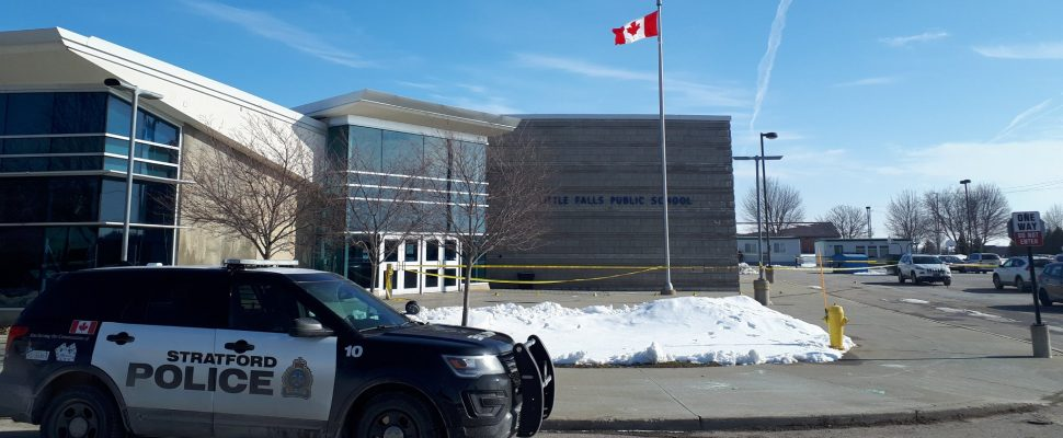 A police cruiser sits outside Little Falls Public School in St. Marys where earlier this morning, a woman suffered life-threatening stab wounds. Photo courtesy of Stratford Police Service.