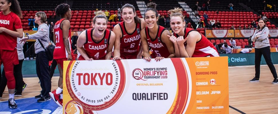 Jamie Scott, Bridget Carleton, Kia Nurse and Sami Hill at the Sweeden v. Canada FIBA Olympic Qualifying Tournament in Belgium on February 8, 2020 (Photo via FIBA website)