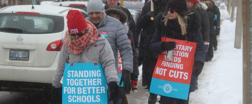 ETFO members picket outside Giles Campus French Immersion Public School in Windsor, February 7, 2020. Photo by Mark Brown/Blackburn News.