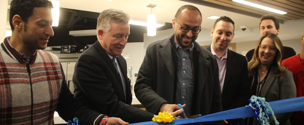 Ribbon cutting of the Muslim Chaplaincy at the University of Windsor, February 7, 2020. (Photo by Maureen Revait)