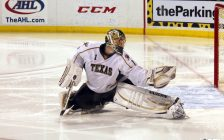 Goaltender Jack Campbell with the Texas Stars. 15 February 2013. (Photo by Ross Bonander and Jack Campbell from Flickr)