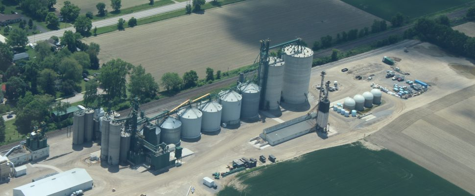 Aerial view of the farm operations in Kent Bridge owned by Sylvite and The Andersons. (Submitted Photo)
