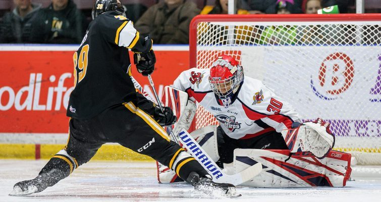 The Sarnia Sting take on the Windsor Spitfires, February 7, 2020. (Photo courtesy of Metcalfe Photography)