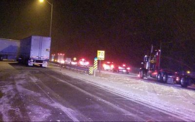 Emergency crews respond to a collision on Highway 401 in Lakeshore, February 26, 2020. (Photo courtesy of the OPP)