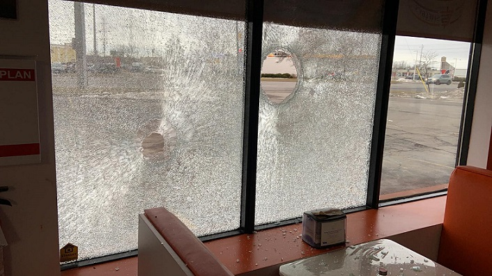 Damage to windows at Shelby's Food Express on Exeter Road, February 4, 2020. Photo from Shelby's Food Express/Facebook.